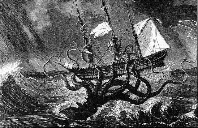 Kraken attacks ship, Крякен атакует корабль